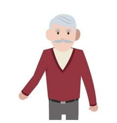 Caucasian senior man icon vector
