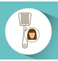 spatula tool kitchen icon and female cartoon vector image