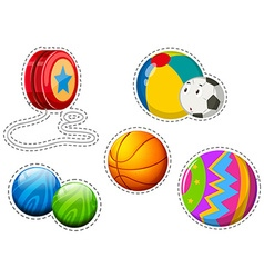 Sticker set of different balls vector