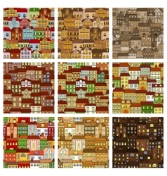 Houses and buildings seamless patterns set vector image