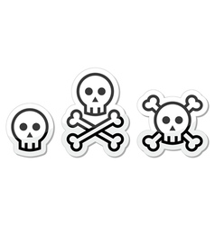 skull labels set vector image
