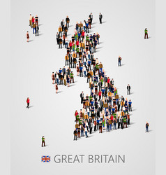 Large group of people in form of great britain map vector