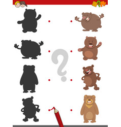 Shadow game with bears vector