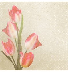 Vintage tulips with polka dot eps 10 vector