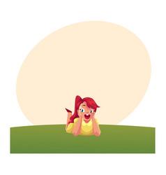 Teenage girl with long hair lying on grass summer vector