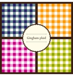 Set of gingham plaid patterns vector