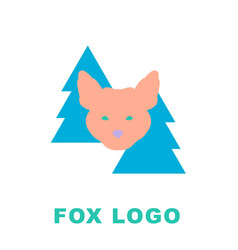 Stylised logo mascot fox in woods vector