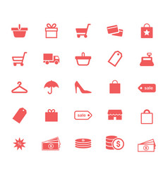 shopping retail and money flat icons set vector image