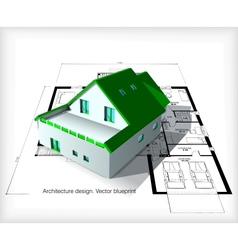 Architecture model house on top of blueprints vector