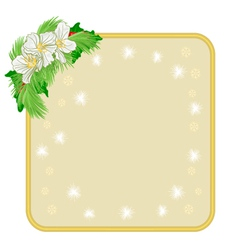 Christmas decoration frame with flowers and holly vector