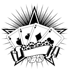 playing cards dice chips vector image