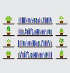 Bookshelf with pot plant on wall vector