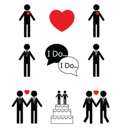 Gay man wedding vector