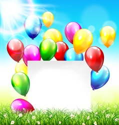 Celebration background with frame balloons grass vector