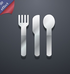 Fork knife spoon icon symbol 3d style trendy vector