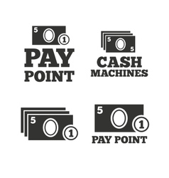 Cash and coin icons money machines or atm vector
