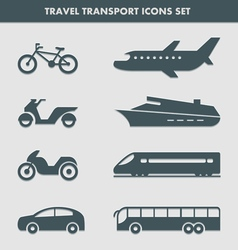 Travel transport icons set vector