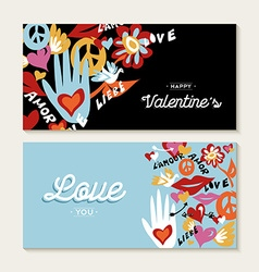 Valentines day set with hand drawn peace elements vector