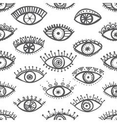 ethnic eyes seamless pattern white background vector image