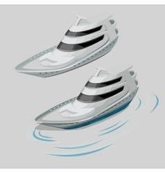 Modern white motor boat and silhouette of the wave vector