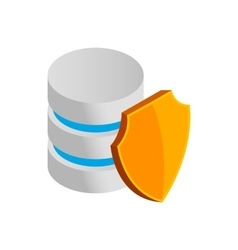 Database with yellow shield icon vector
