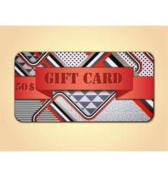 Retro stile abstract gift card vector