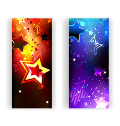 Two banners with abstract stars vector