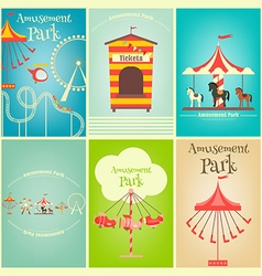 Amusement park posters vector