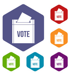 Ballot box icons set hexagon vector