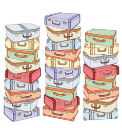 Cartoon decorative stack of old retro vector