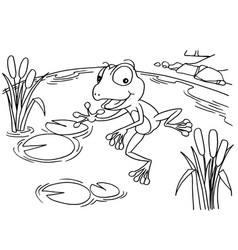 Cartoon frog at lake coloring page vector