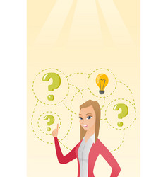 Caucasian business woman having business idea vector