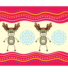 christmas background with a deer vector image vector image