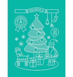 Christmas tree Santa Claus outline vector image