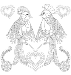 Couple of exotic tropical bird sitting on heart vector image