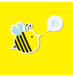 Cute cartoon bee and speech bubble with word hi ca vector