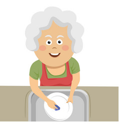 Elderly woman cleaning the dishes with a sponge vector