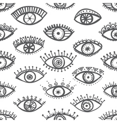 ethnic eyes seamless pattern white background vector image
