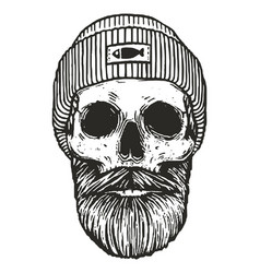 Fisherman skull with hat vector