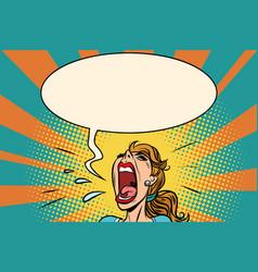 girl pop art screams in panic vector image vector image