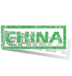Green outlined china stamp vector