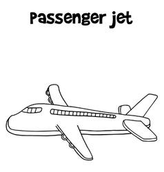 Hand draw of passenger jet vector