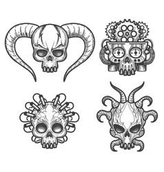Hand drawn monsters skull set vector