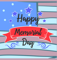 Happy memorial day hand draw style collection vector