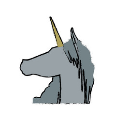 Head unicorn horn fantasy animal mythology vector
