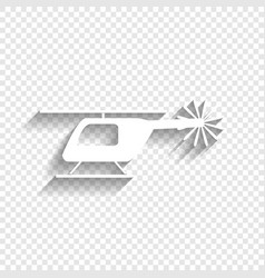 Helicopter sign white icon vector