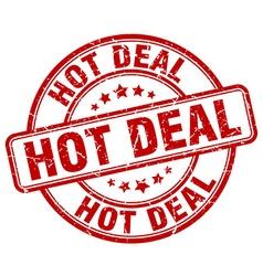 Hot deal red grunge round vintage rubber stamp vector