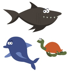 Sea animals cartoon characters vector