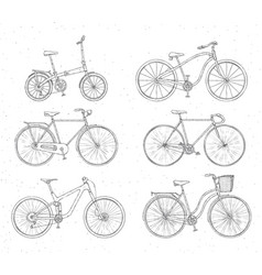 Set of hand drawn bicycles modern and retro style vector