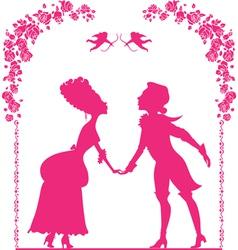 Silhouette of boy and girl vector image vector image